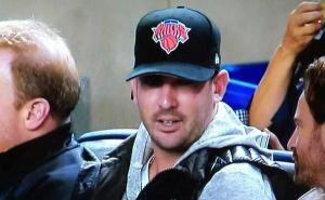 "Matt Harvey takes in Derek Jeter's last ever home game in 2014 .  His hat may as well say, ""#ZeroFucksGiven"""